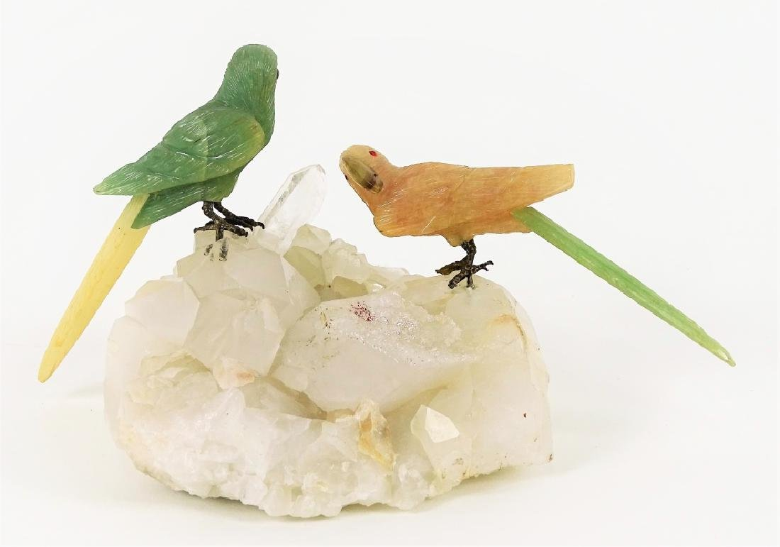 Carved Jade & Rose Quartz Parrots On Rock Crystal - 2