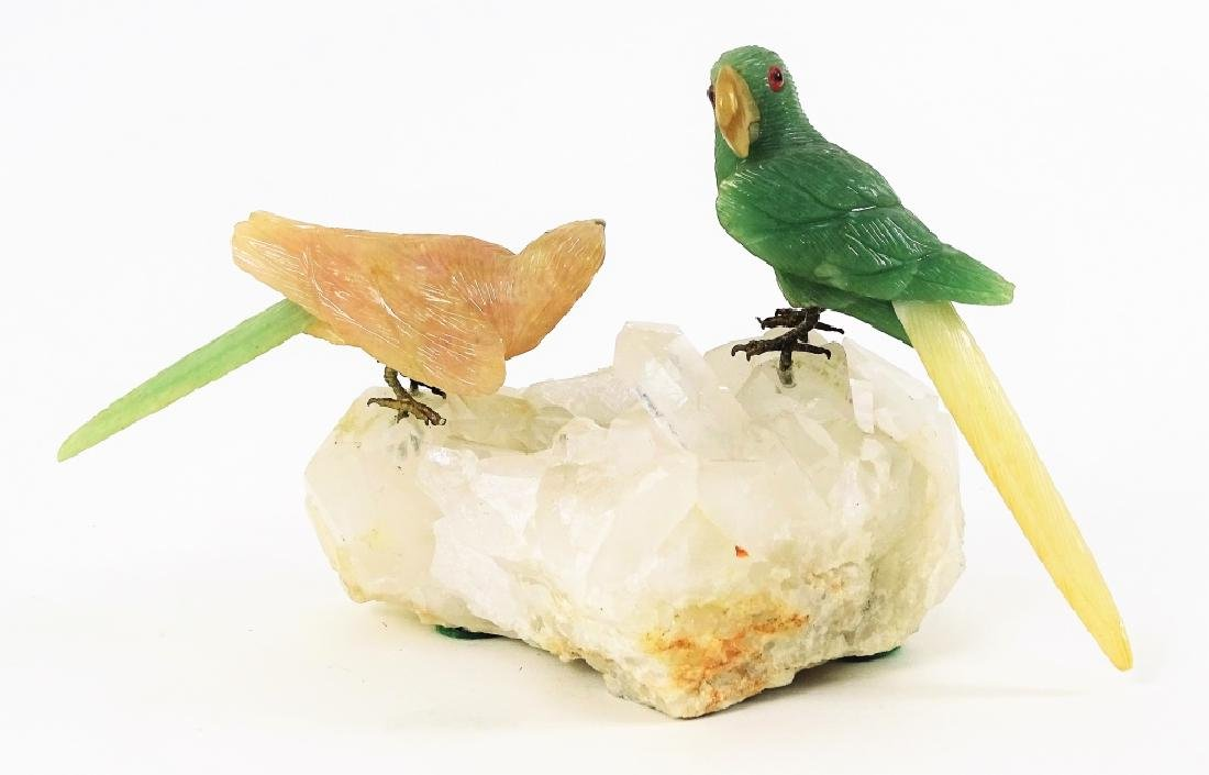 Carved Jade & Rose Quartz Parrots On Rock Crystal - 4