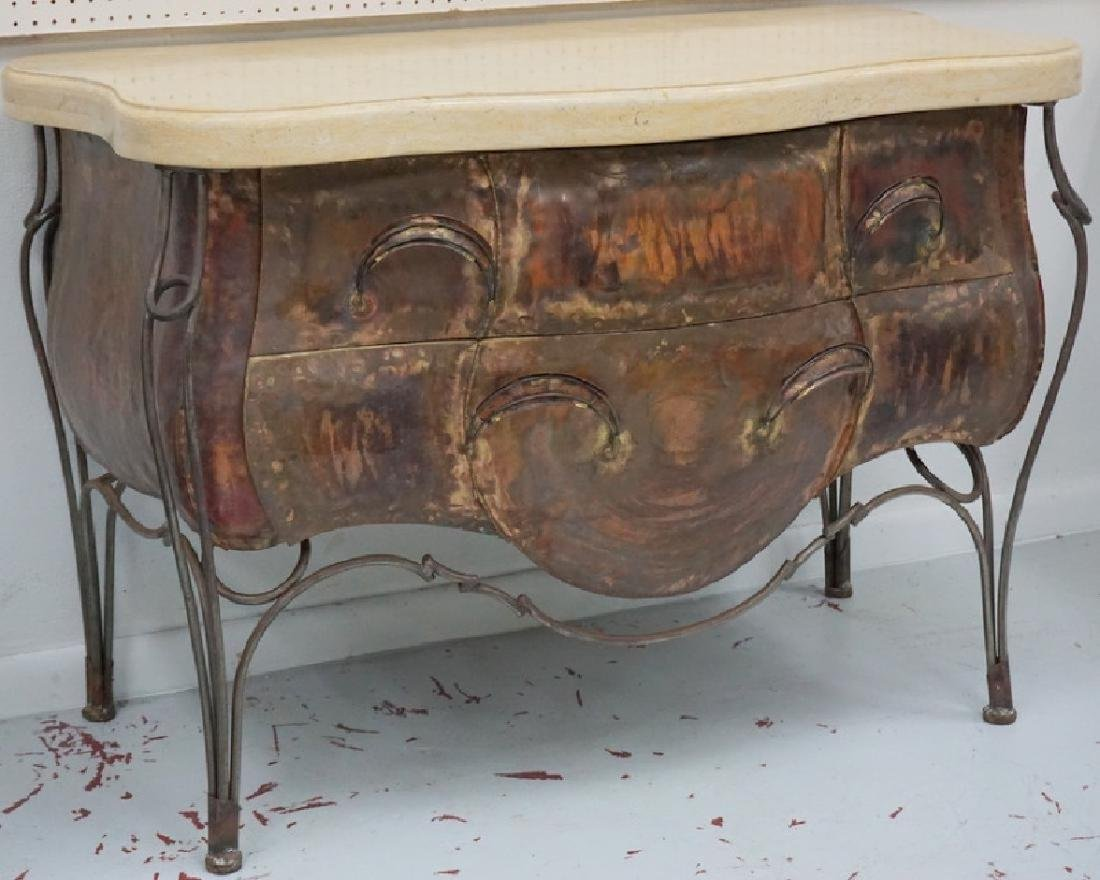 Evan Lewis Marble Top Copper Bombe Cabinet Chest