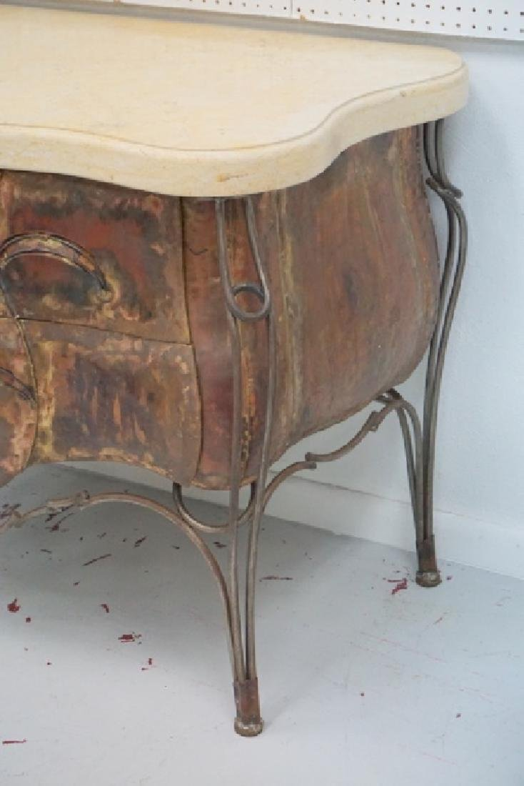 Evan Lewis Marble Top Copper Bombe Cabinet Chest - 3