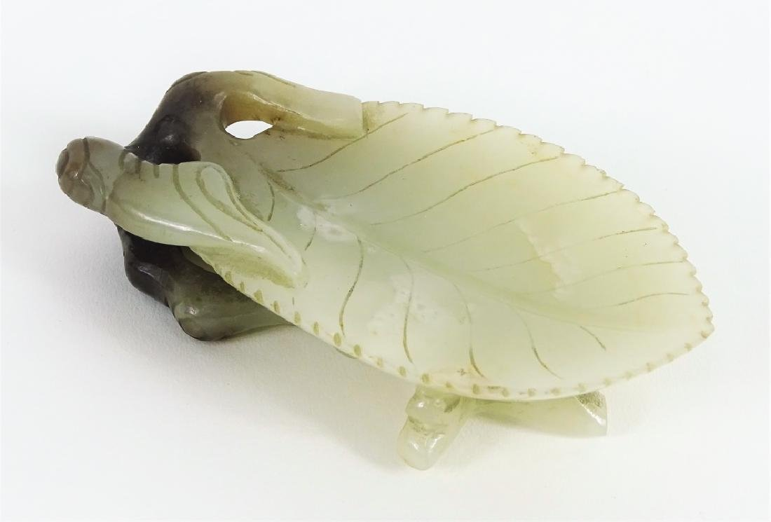Antique Chinese Carved White Jade Leaf Form Dish - 3