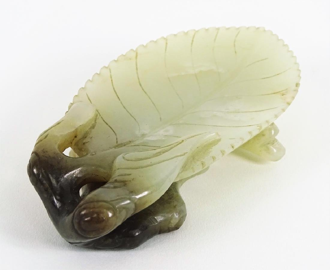 Antique Chinese Carved White Jade Leaf Form Dish - 4