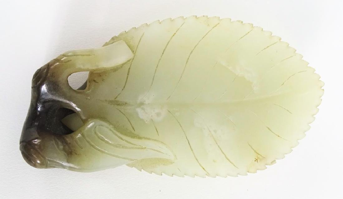 Antique Chinese Carved White Jade Leaf Form Dish - 6
