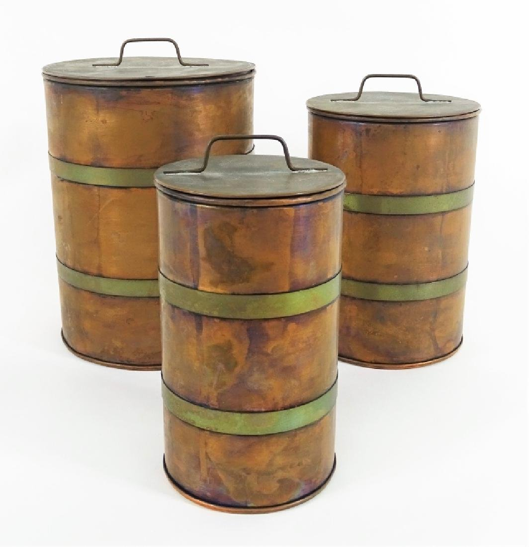Three Cotemporary Signed Copper Lidded Canisters