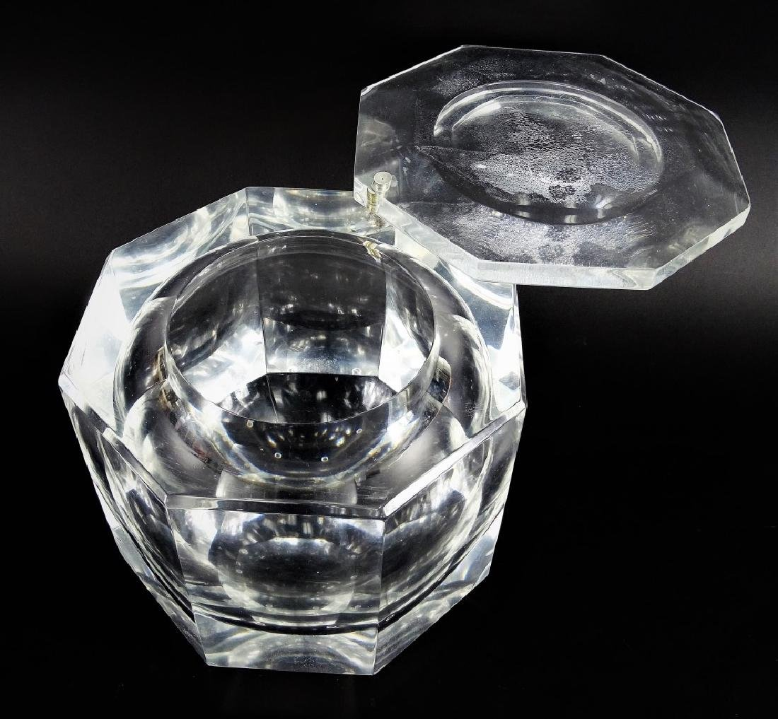 Mid Century Octagonal Lucite Champagne Ice Case - 2