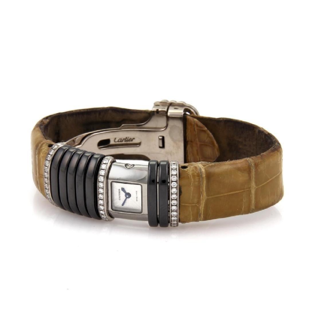 Cartier Diamond Titanium 18k Gold Leather Watch