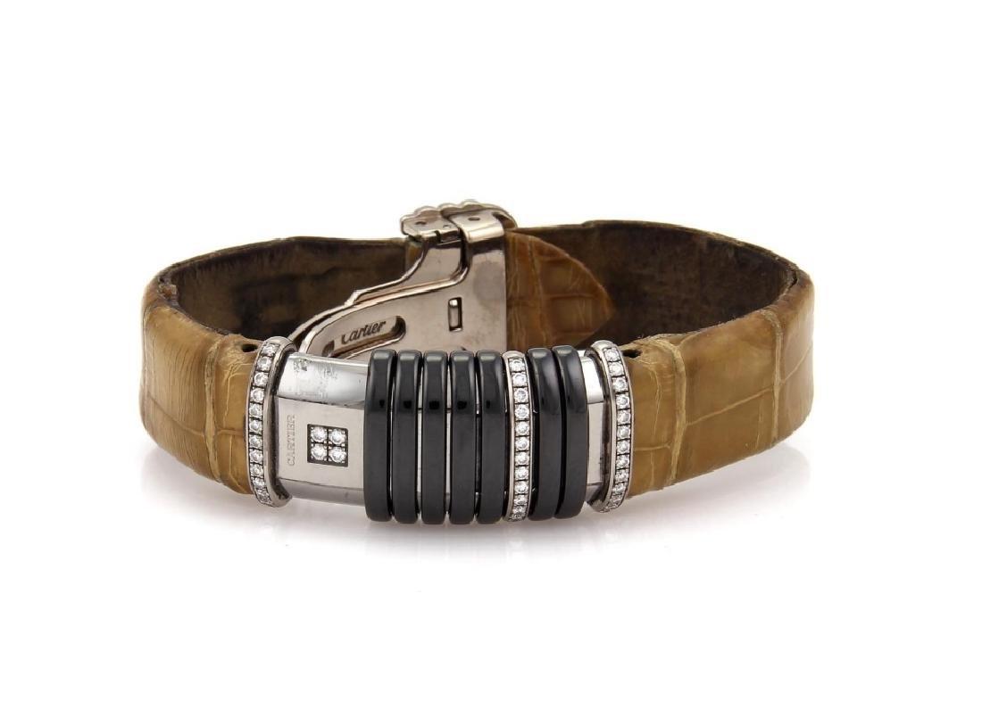 Cartier Diamond Titanium 18k Gold Leather Watch - 2
