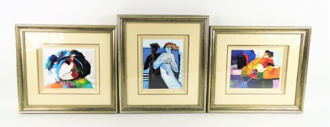 Three Framed Hessam L/E Lithographs On Paper