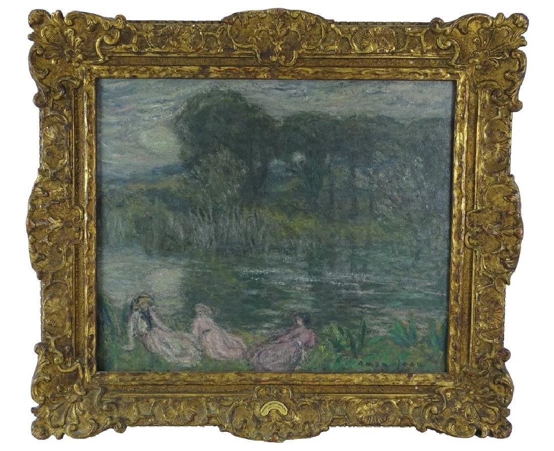 Antique Edmond Aman-Jean Original Oil Painting