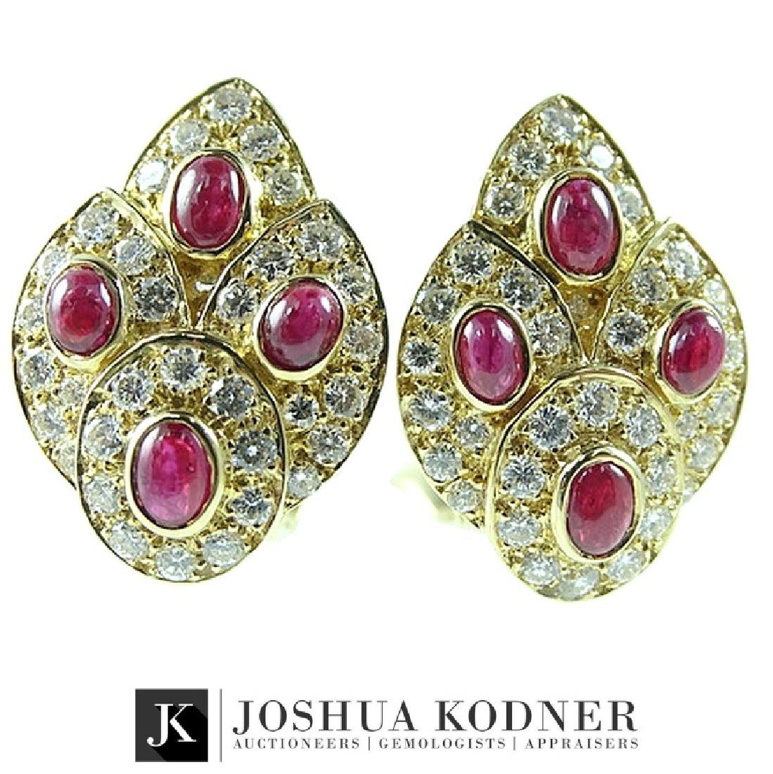 Van Cleef & Arpels 18K Gold Ruby Diamond Earrings
