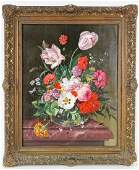 Antique 19th C Signed French Still Life Painting