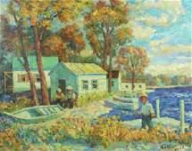 David Burliuk Original Oil Painting on Canvas