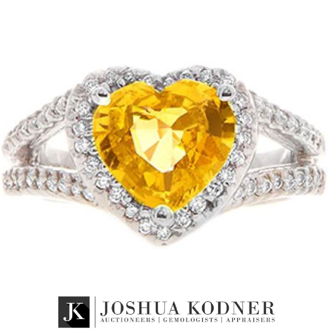 3.23 ct. Yellow Sapphire and Diamond Ring