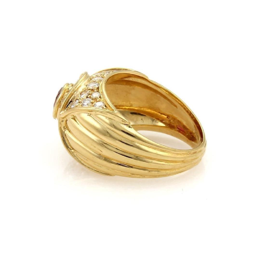 Piaget Diamond Ruby 18k Yellow Gold Dome Band - 2