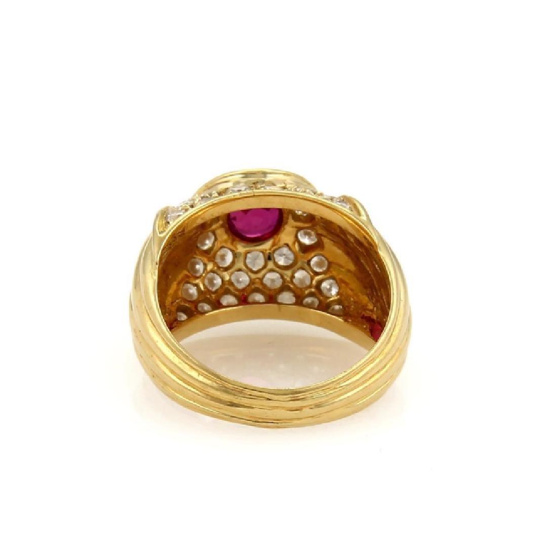 Piaget Diamond Ruby 18k Yellow Gold Dome Band - 3