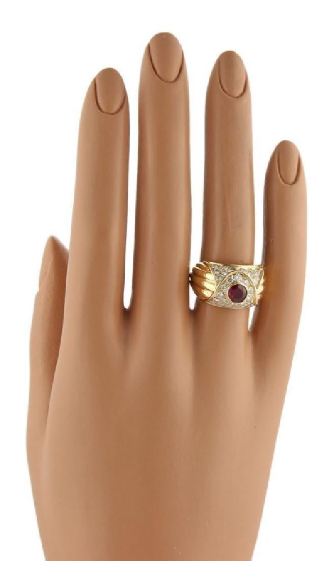 Piaget Diamond Ruby 18k Yellow Gold Dome Band - 5