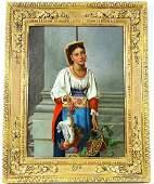 Antique David Sani Portrait Oil Painting On Board