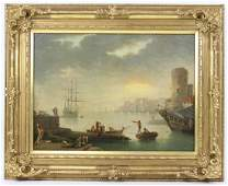 Antique 19th C Harbor Scene Oil Painting On Canvas