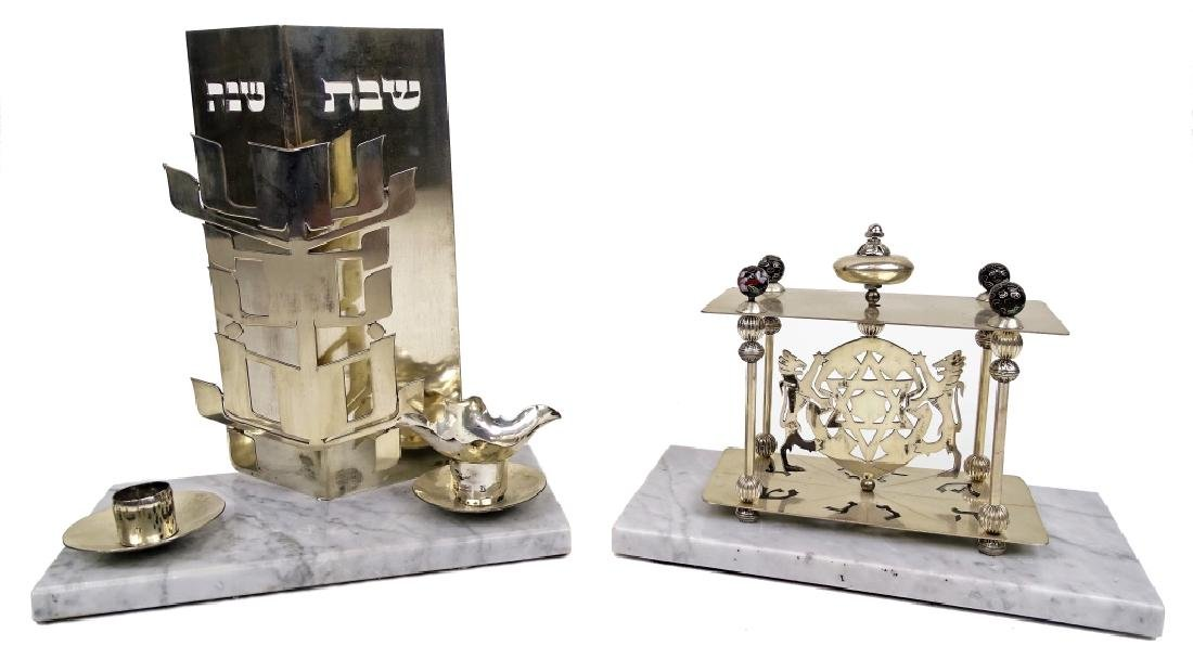 Two Silver Judaica Display Ornaments on Marble