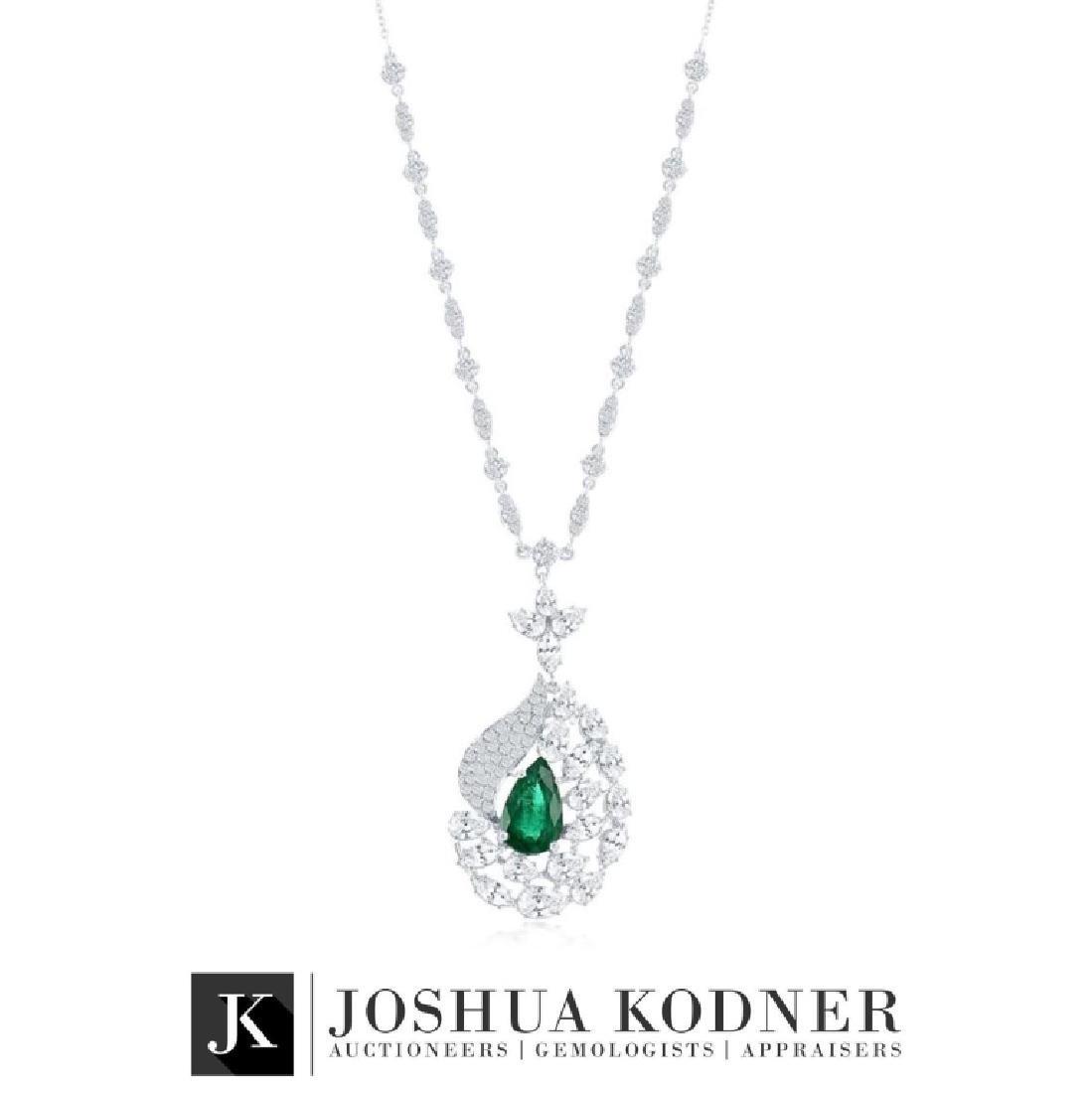 5.26 ct. Diamonds and Emerald Pendant Necklace