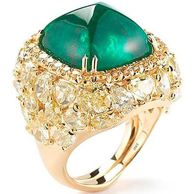 18K Yellow Gold 17.57ct. Sugarloaf Emerald Ring