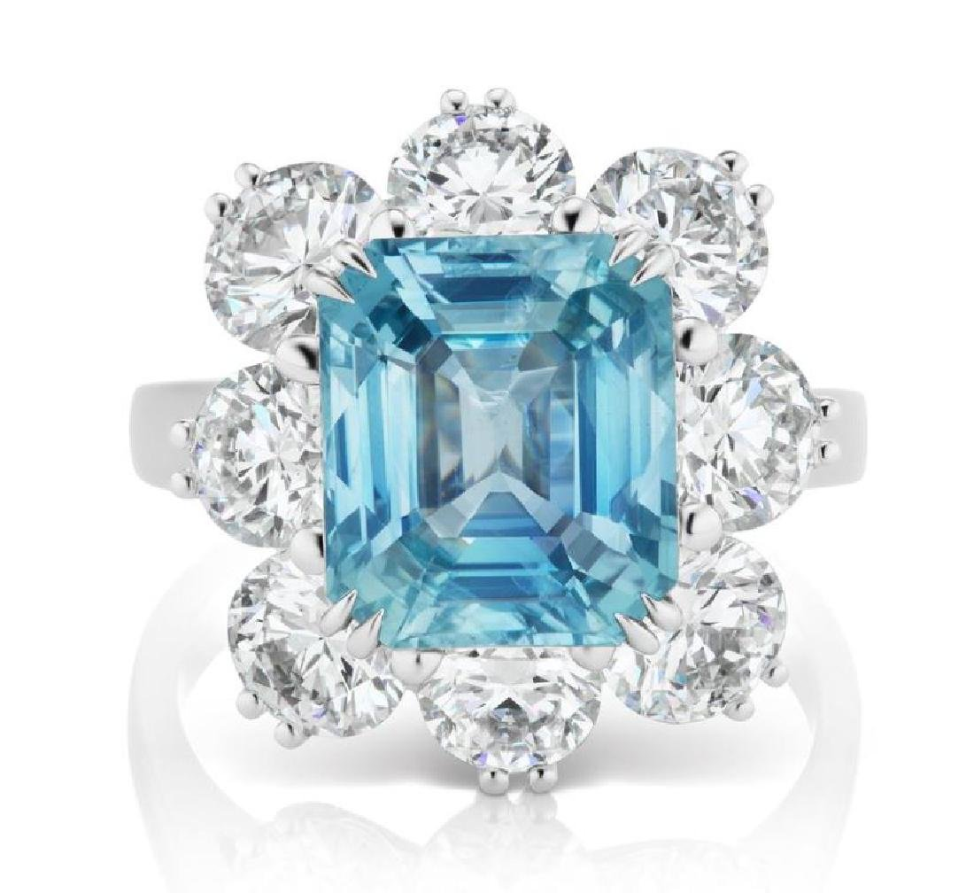 Platinum 5.66ct Icy Blue Sapphire and Diamond Ring
