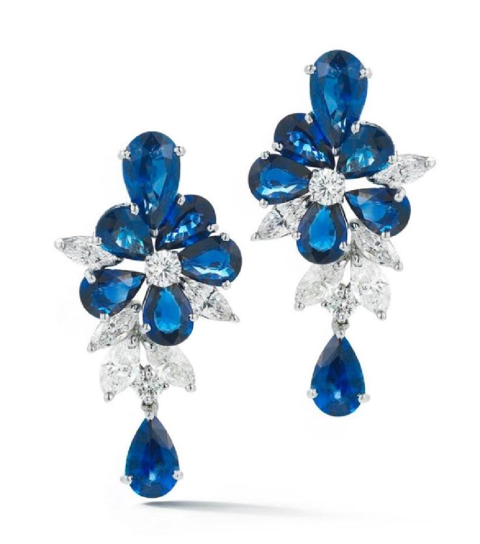 Platinum 12.68ct. Sapphire Diamond Flower Earrings