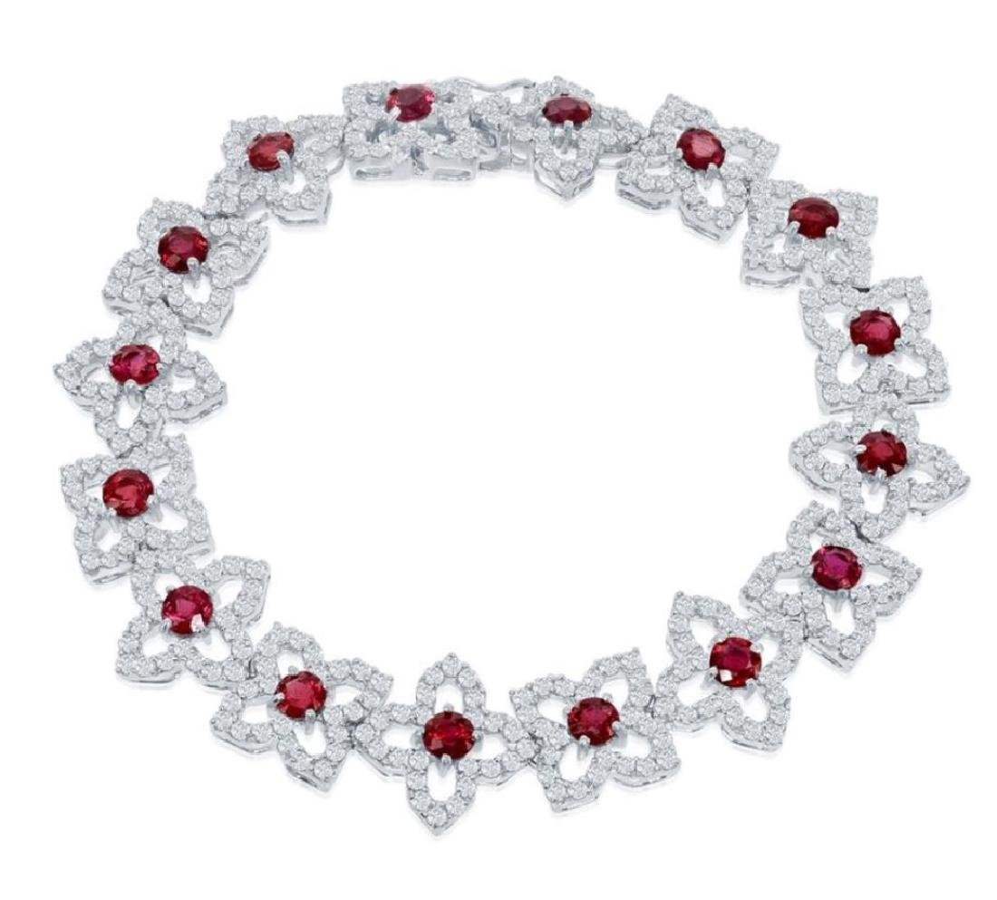 18K Gold 6.01ct Ruby and Diamond Bracelet