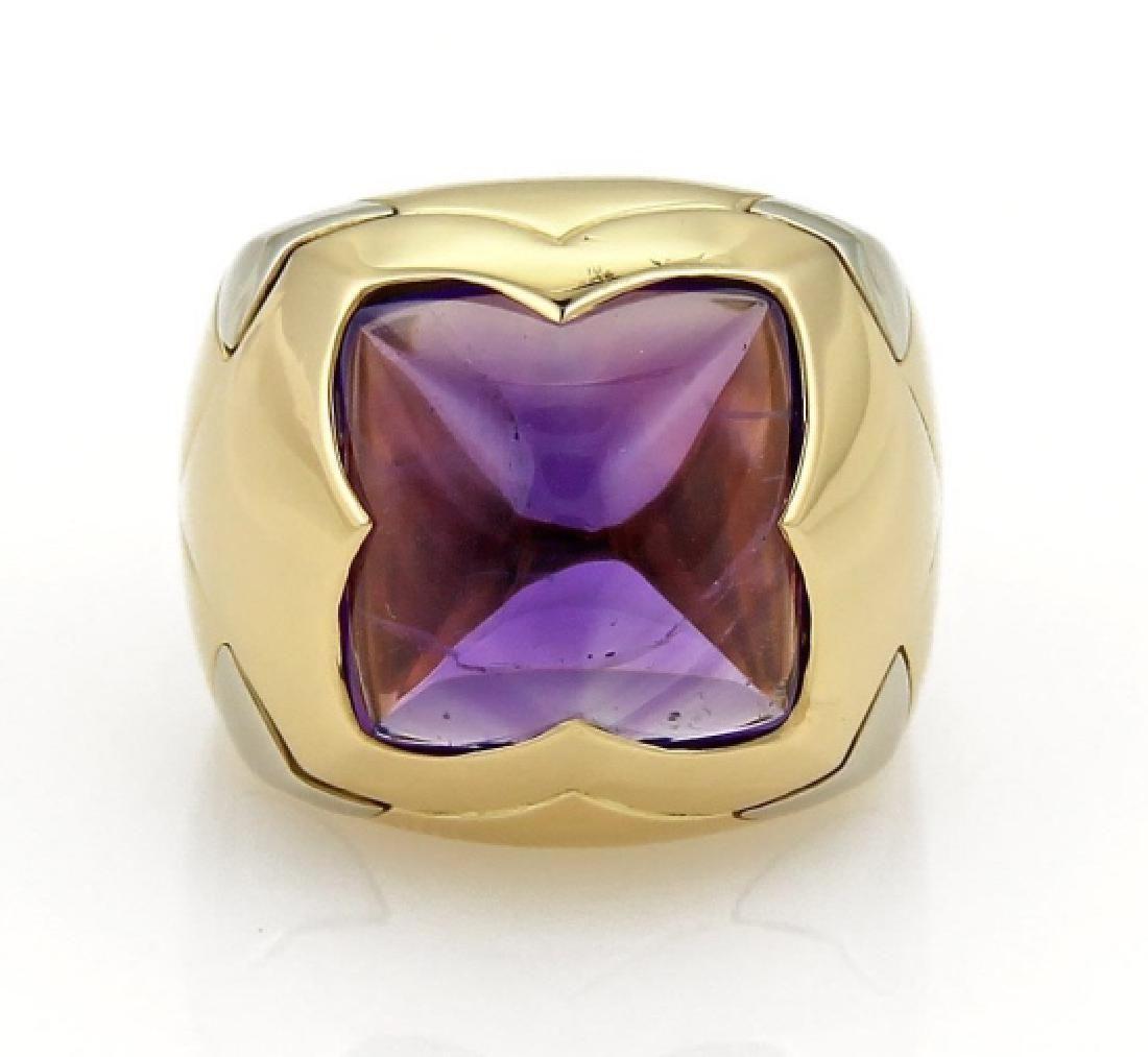 Bvlgari 18k Gold Pyramide & Amethyst Floral Ring