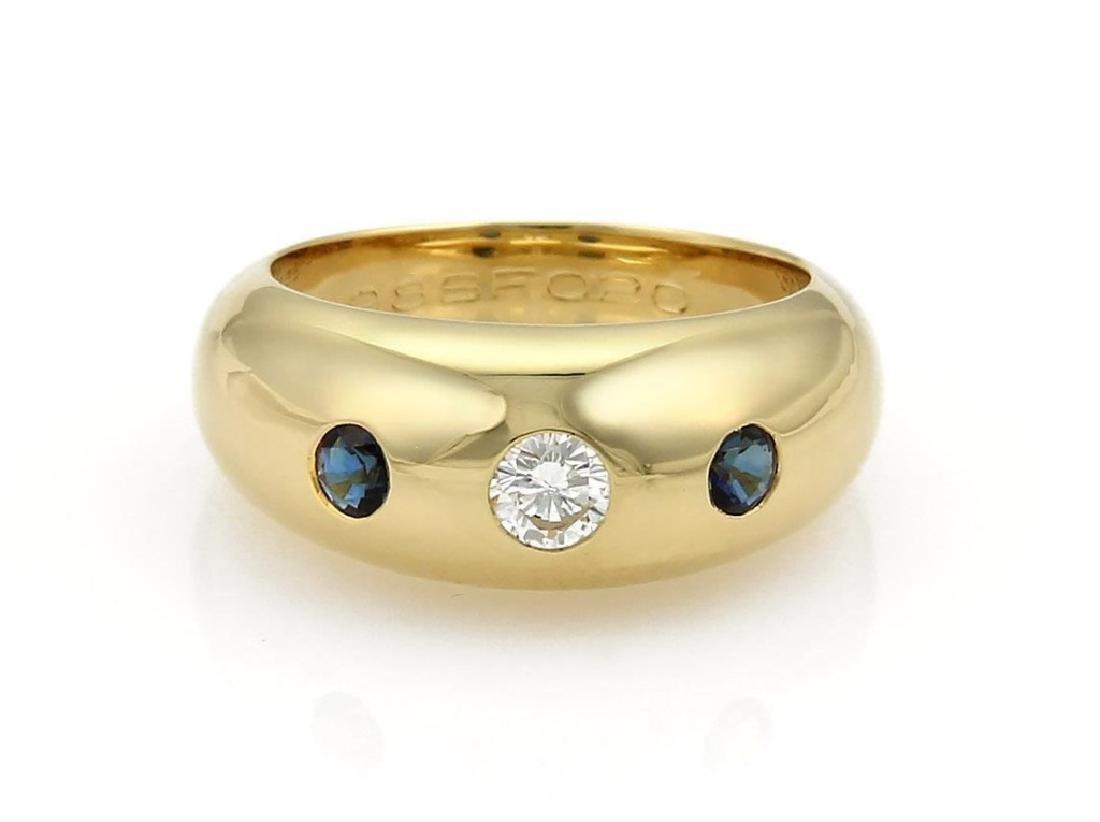 Cartier Gypsy Diamond Sapphire 18k Gold Dome Ring
