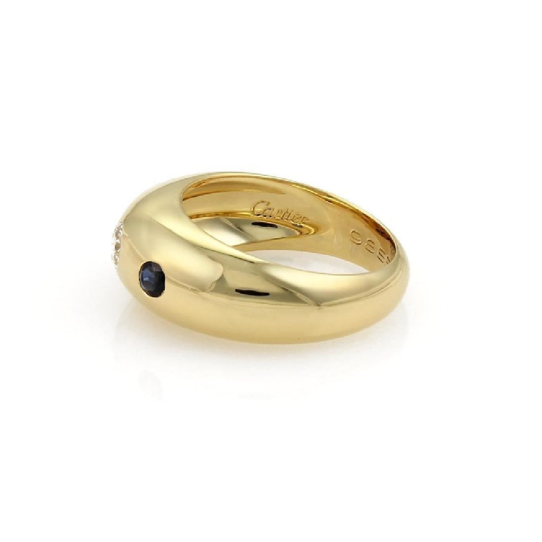 Cartier Gypsy Diamond Sapphire 18k Gold Dome Ring - 2