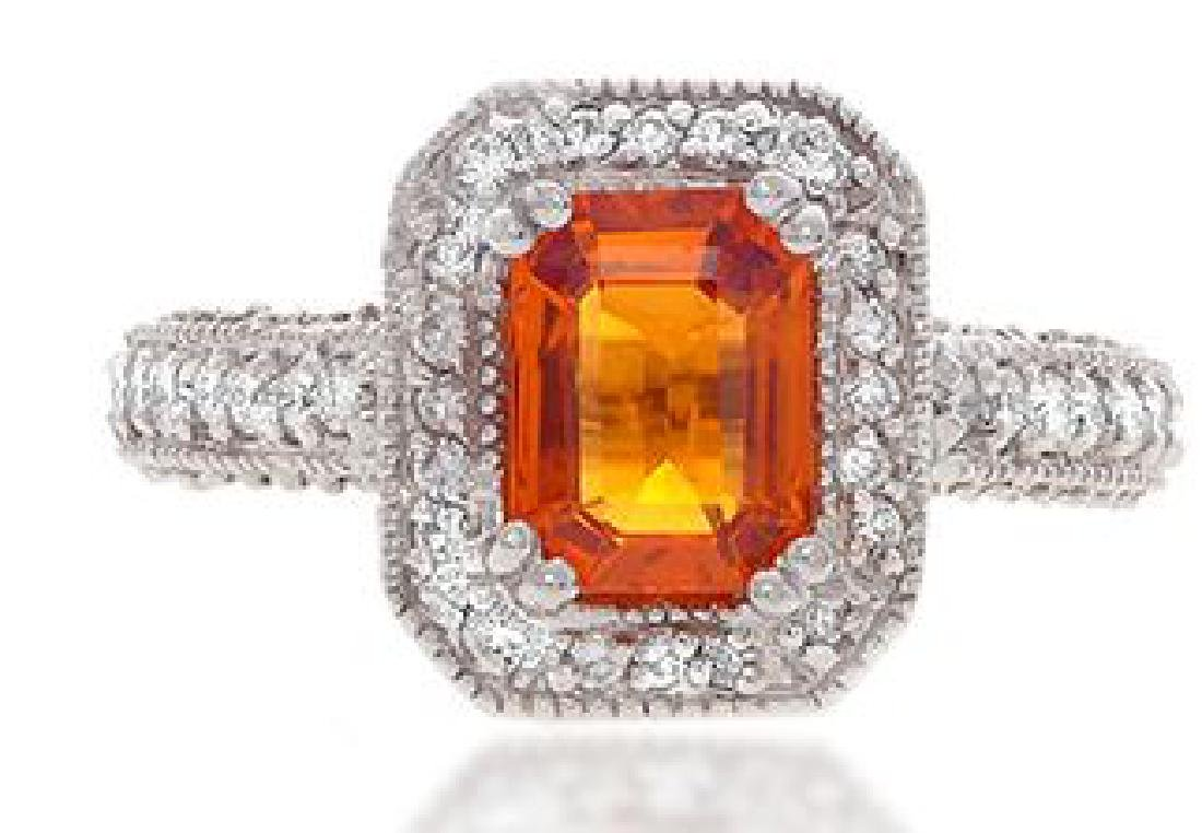 14K Gold 2.2ct. Orange Sapphire and Diamond Ring