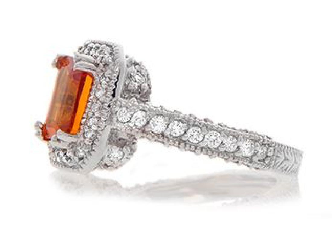 14K Gold 2.2ct. Orange Sapphire and Diamond Ring - 2