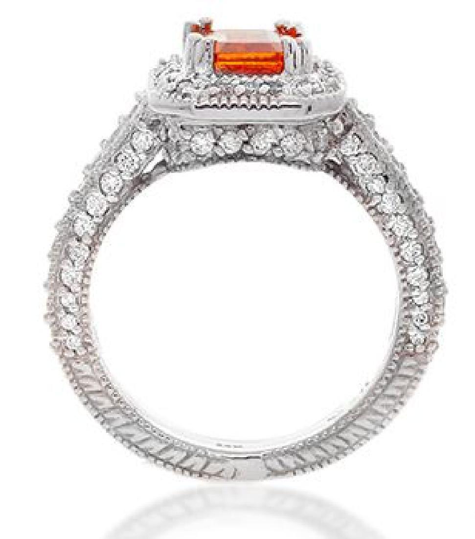 14K Gold 2.2ct. Orange Sapphire and Diamond Ring - 3