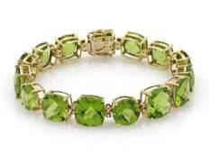 Vintage 5530ct Peridot Diamond 14k Gold Bracelet