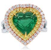 18k Gold Emerald Heart Ring w/ Yellow Diamonds