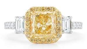 GIA 18k Gold Natural Fancy Yellow Diamond Ring