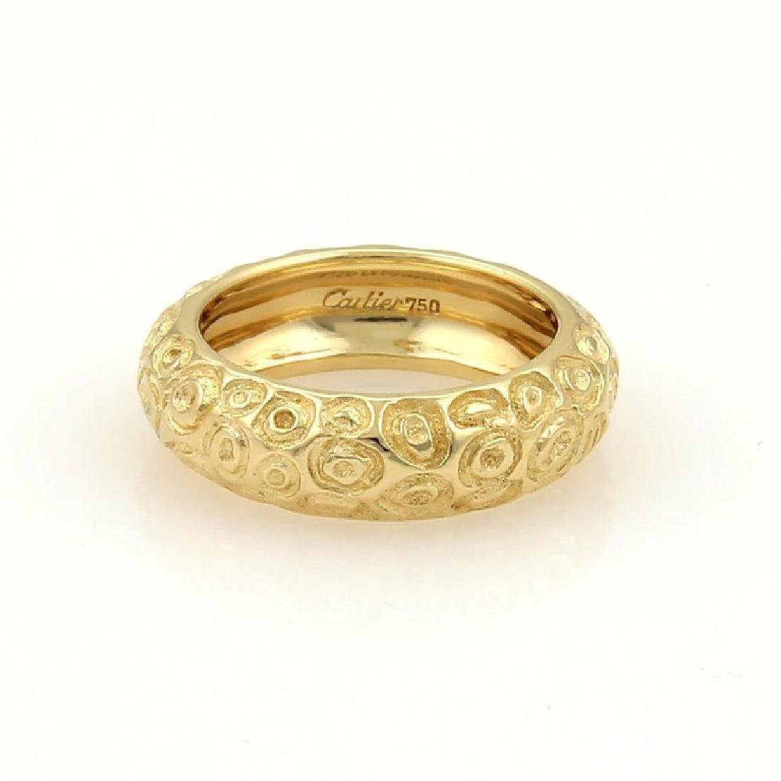 Vintage Cartier 18k Gold Textured Dome Band Ring