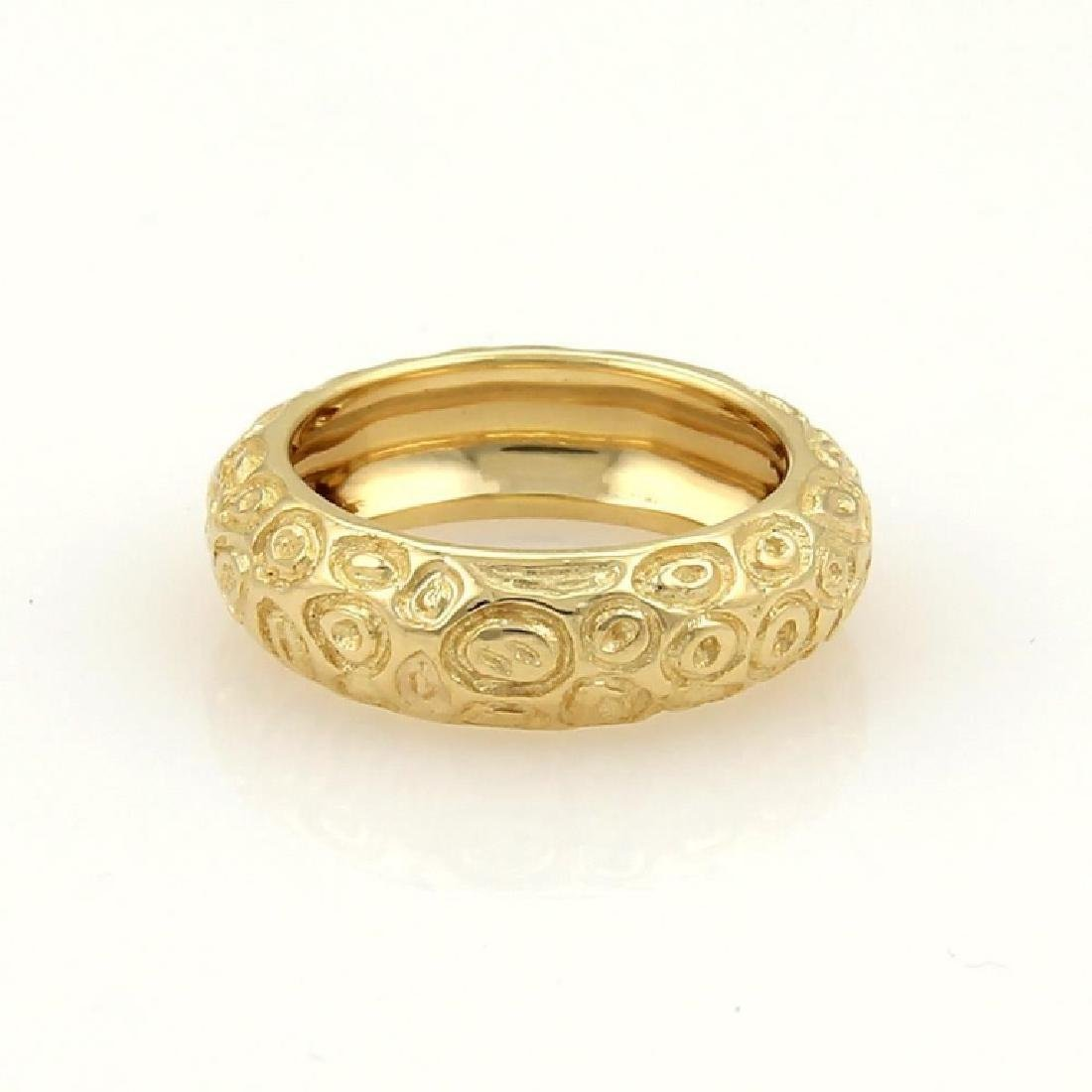Vintage Cartier 18k Gold Textured Dome Band Ring - 2