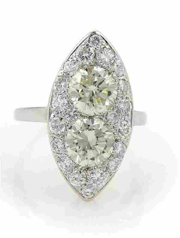 Estate14k White Gold 3.85ct Diamond Solitaire Ring