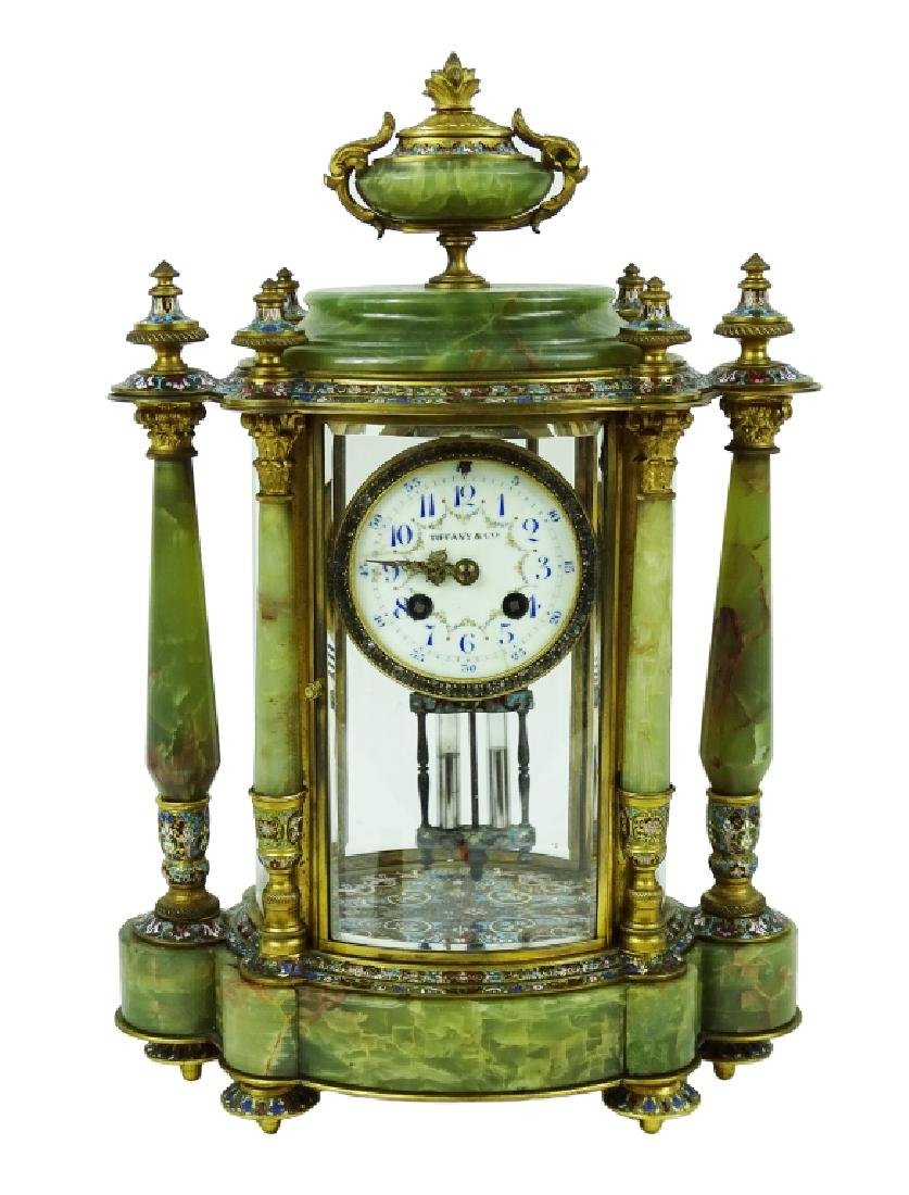 Tiffany & Co. Green Onyx Champleve Mantle Clock