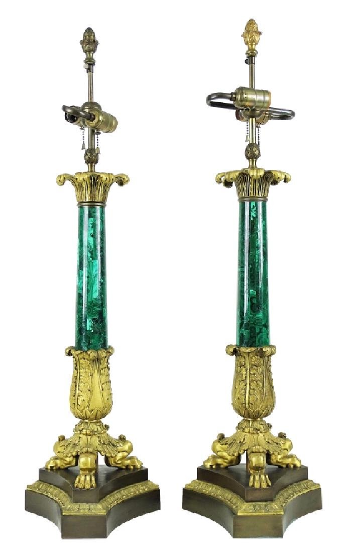 French Empire Malachite Dore Bronze Column Lamps