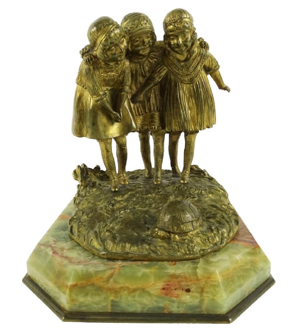 D.H. Chiparus Three Girls Deco Bronze Sculpture