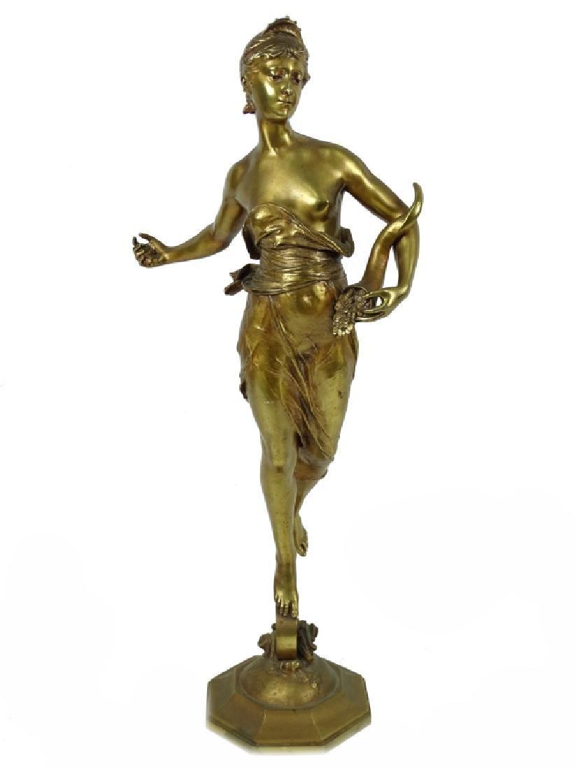 "Eugene Marioton ""Fortuna"" French Bronze Sculpture"