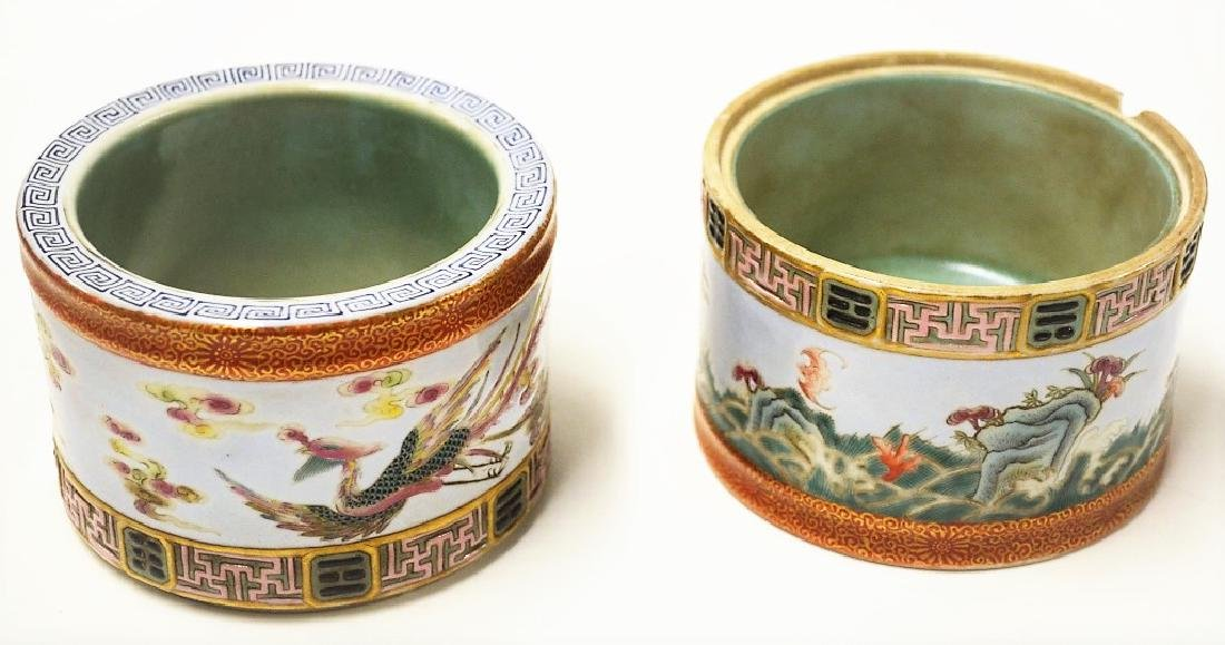 Chinese Stackable Famille Rose Porcelain Brush Pot - 2