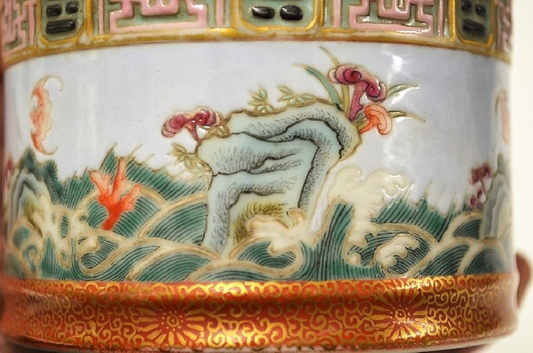 Chinese Stackable Famille Rose Porcelain Brush Pot - 4