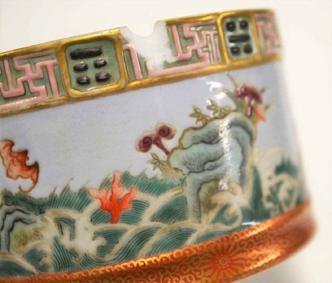 Chinese Stackable Famille Rose Porcelain Brush Pot - 9