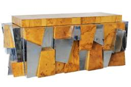 Paul Evans Burl Wood & Chrome Floating Credenza