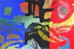 Syd Solomon Original Acrylic Oil Triptych Painting
