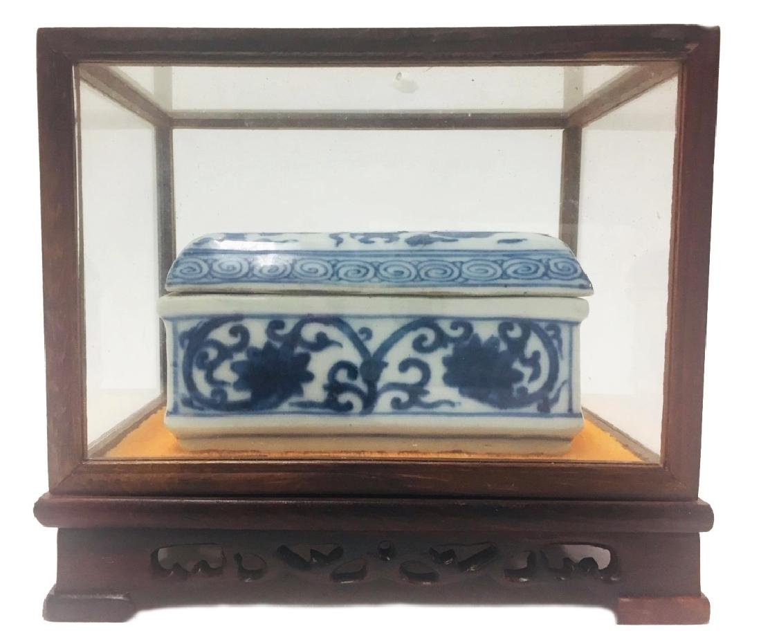 Chinese Blue & White Porcelain Dragon Phoenix Box